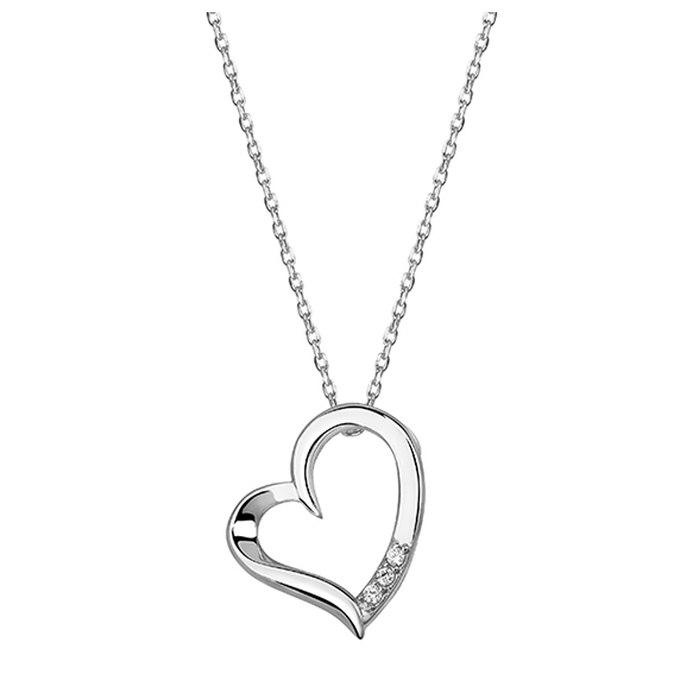Srebrny naszyjnik serce z trzema cyrkoniami + pudełko