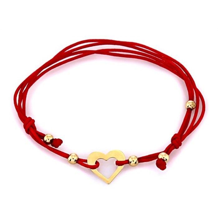 Złota 585 czerwona bransoletka obrys serce