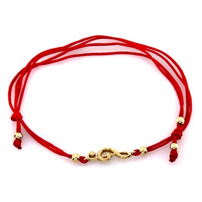 Złota 585 czerwona bransoletka klucz wiolinowy + pudełko