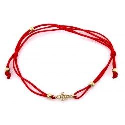 Złota 333 czerwona bransoletka krzyż cyrkonie + pudełko