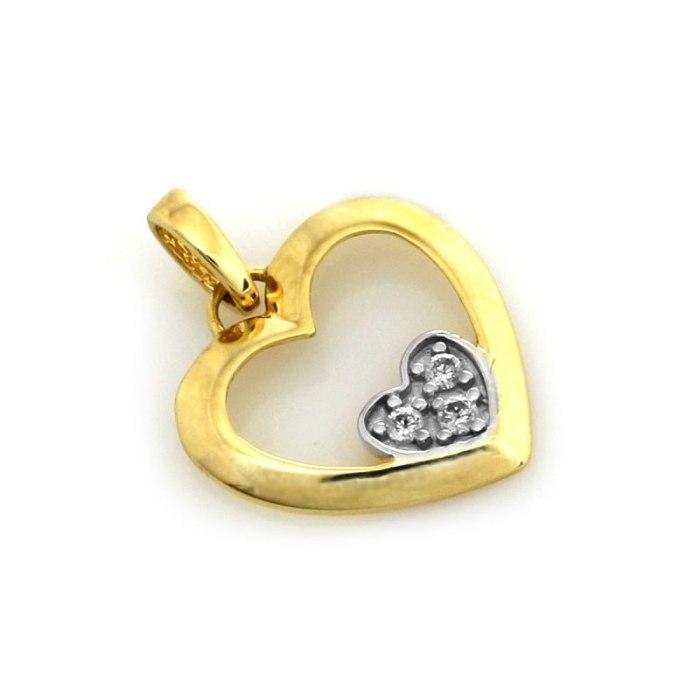 Złote 333 serce serca z cyrkoniami 1 pudełko