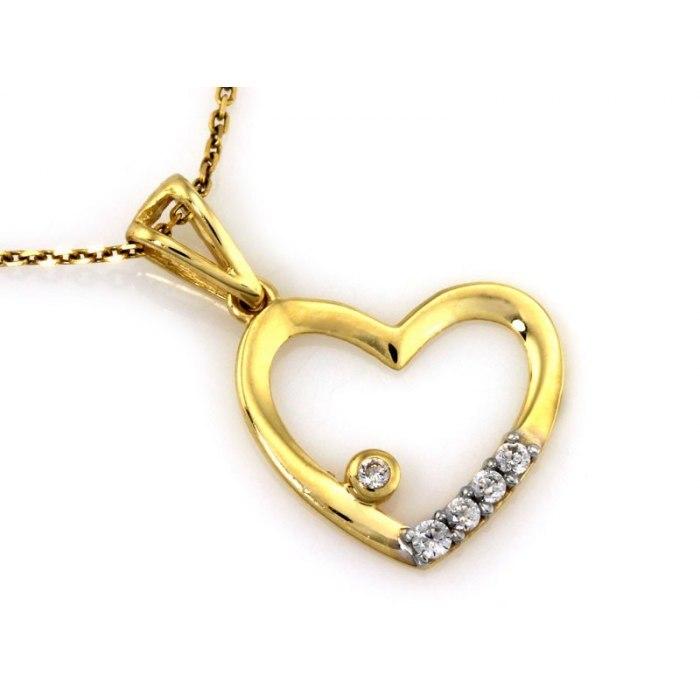 Złoty 333 wisiorek serce z cyrkoniami pudełko