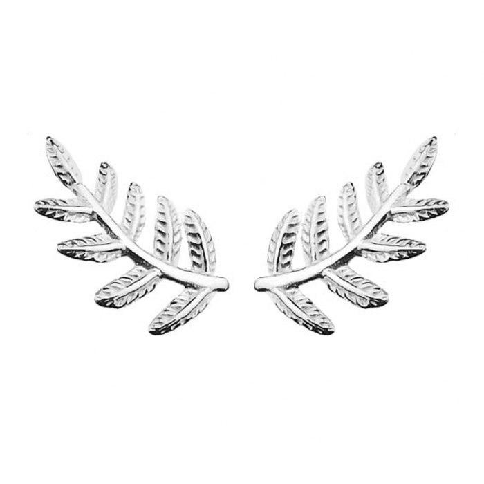 Srebrne srebro kolczyki gałązki listki
