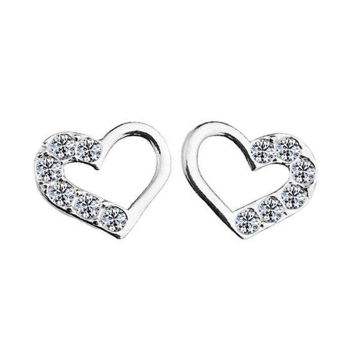 Srebrne srebro kolczyki serca z cyrkoniami