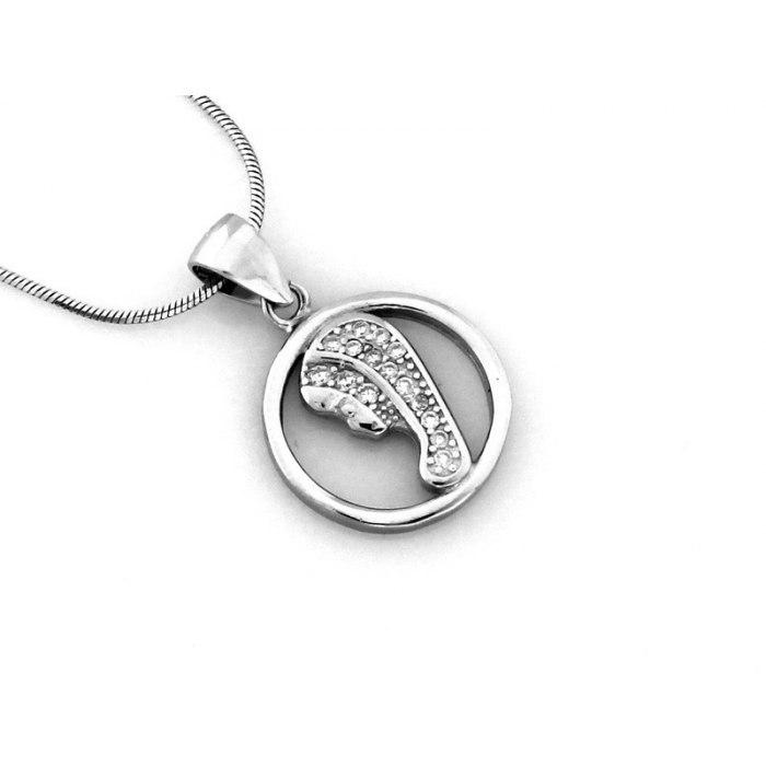 Srebrny okrągły medalik M.B. Fatimska cyrkonie