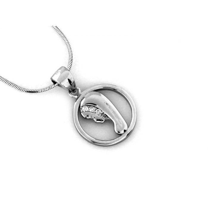 Srebrny okrągły medalik M.B. Fatimska cyrkonie 2
