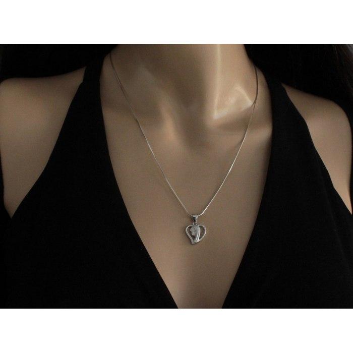 Srebrny medalik serce M.B. Fatimska cyrkonie 1