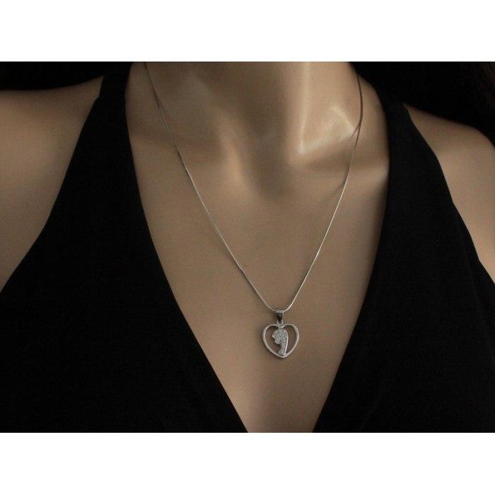 Srebrny medalik serce M.B. Fatimska cyrkonie 2