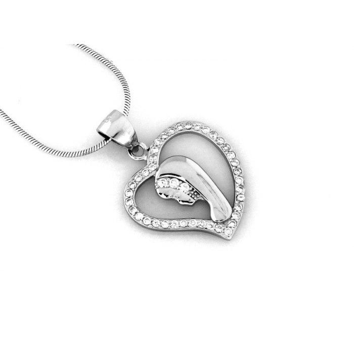Srebrny medalik serce M.B. Fatimska cyrkonie 3