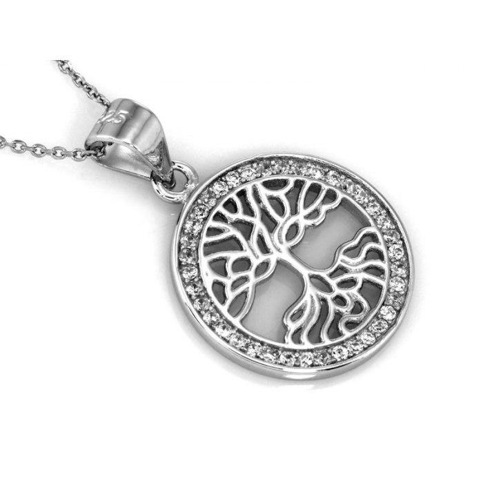 Srebrny okrągły wisiorek  drzewo życia cyrkonie