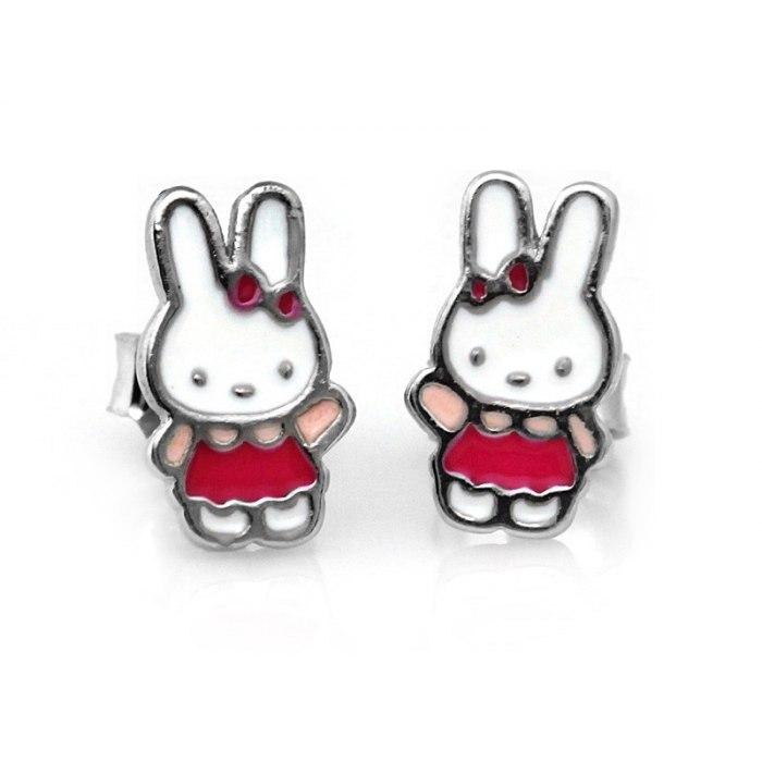 Srebrne dziecięce kolczyki króliczek z Hello Kitty