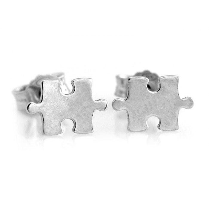Srebrne 925 kolczyki puzzel