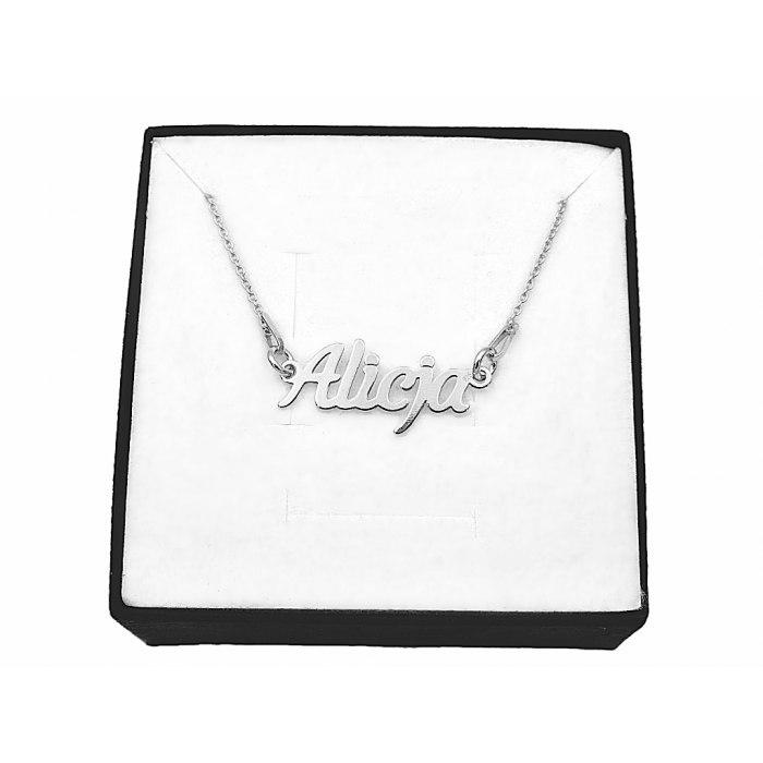 Srebrny naszyjnik imię Alicja + pudełko