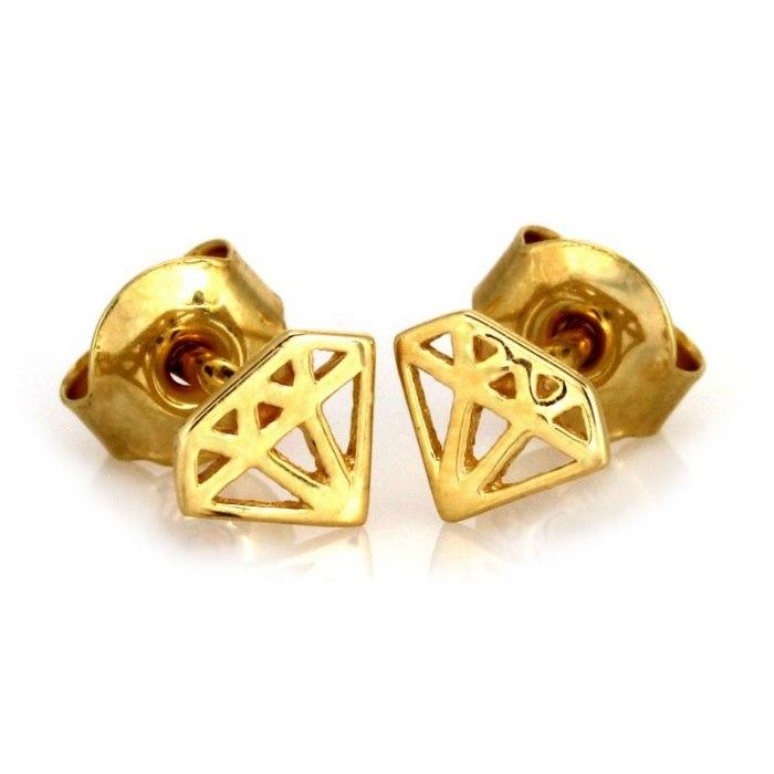 Złote 333 kolczyki diament diamenty