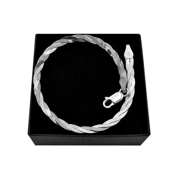 Srebrna pleciona bransoletka taśma+ pudełko