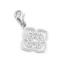 Srebrny charms ażur mandala