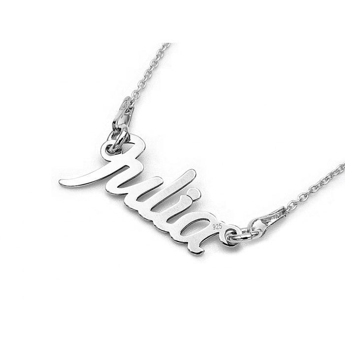 Srebrny naszyjnik imię Julia + pudełko