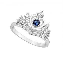 Srebrny pierścionek duża korona szafir