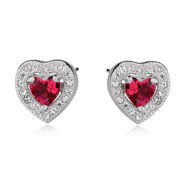 Srebrne kolczyki rubinowe serca