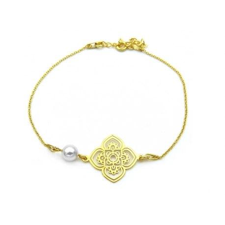 Pozłacana bransoletka mandala z perłą