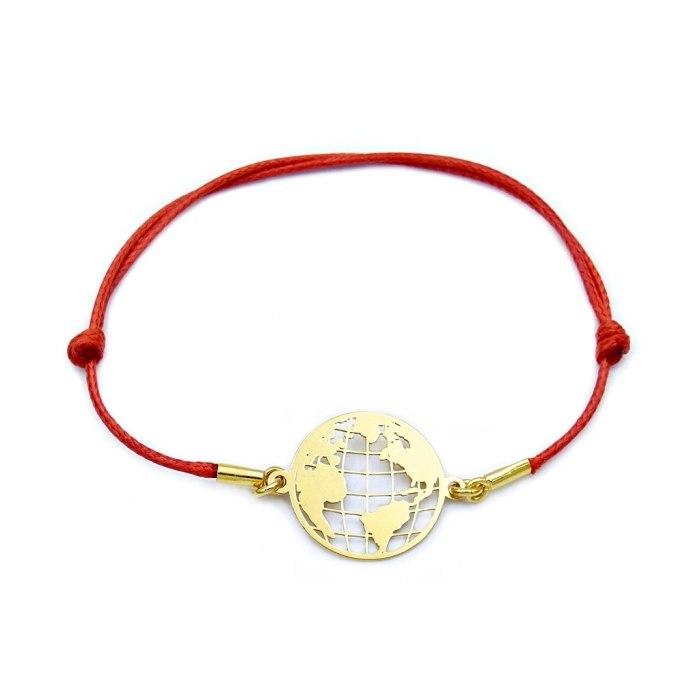Czerwona pozłacana sznurkowa bransoletka kula ziemska