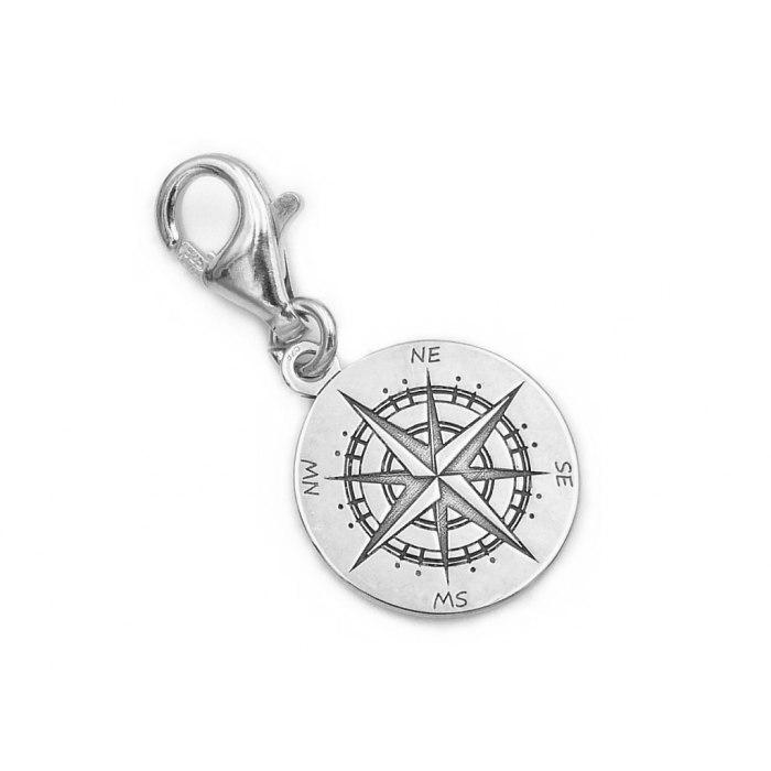 Srebrny charms zawieszka kompas