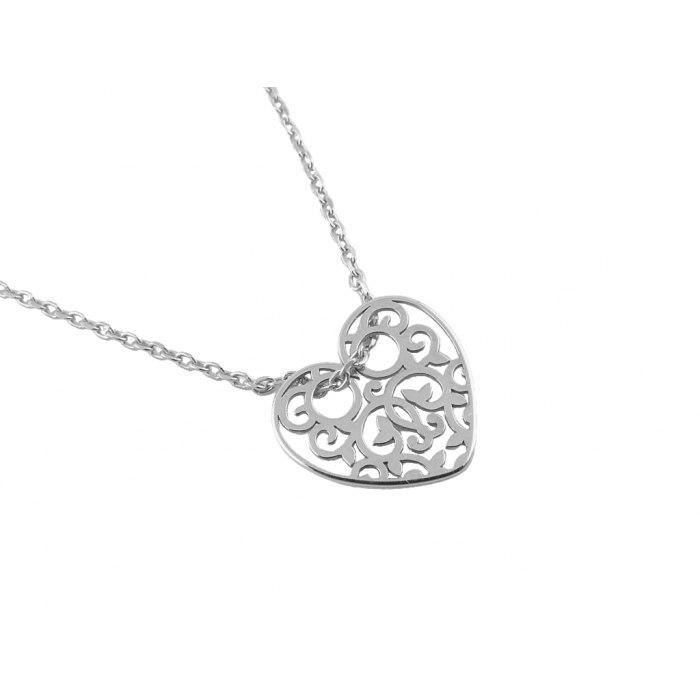 Srebrny komplet ażurowe serca + pudełko