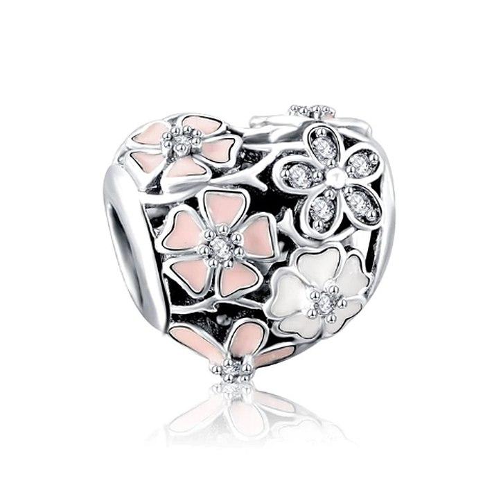 Srebrny koralik modułowy serce emaliowane kwiaty