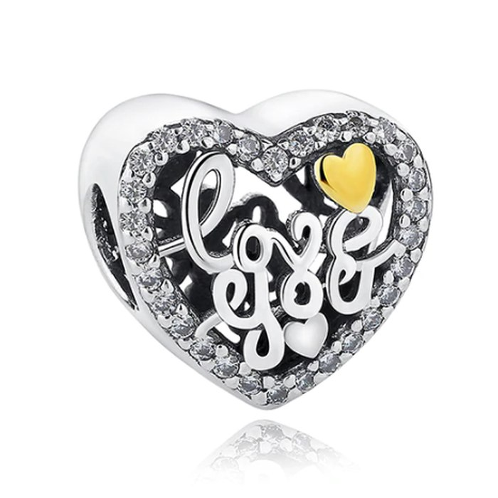 Srebrny koralik modułowy Beads serce love you