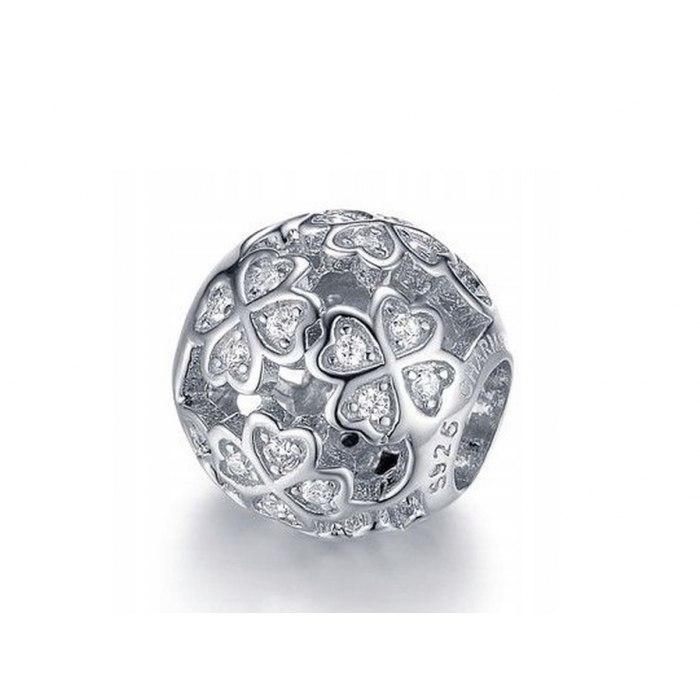Srebrny koralik modułowy Beads czterolistna koniczynka
