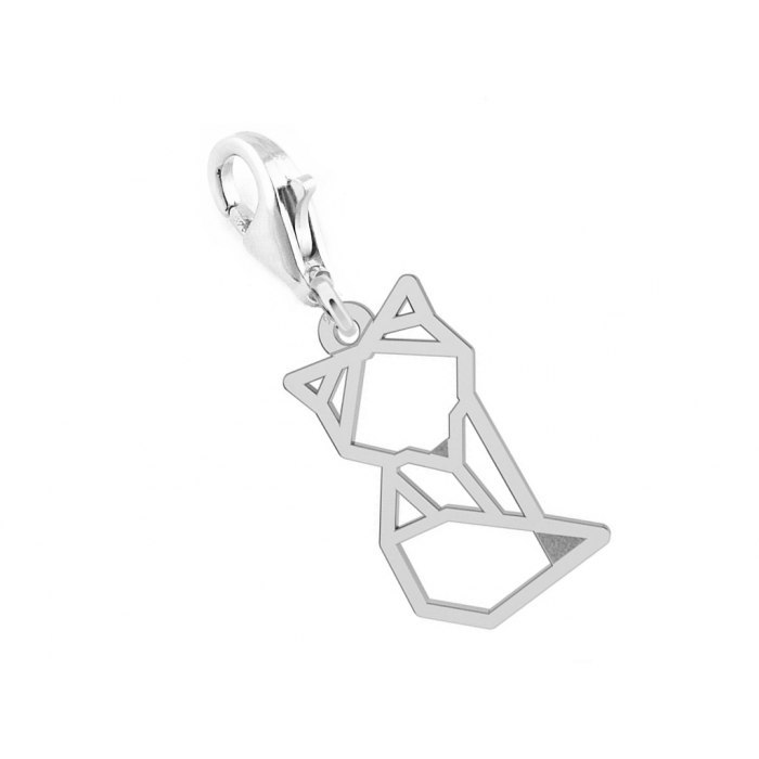 Srebrny charms lis listek origami