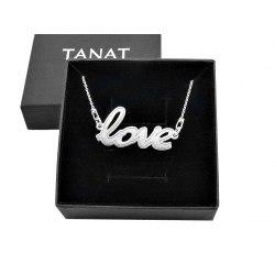 Srebrny naszyjnik napis Love + pudełko