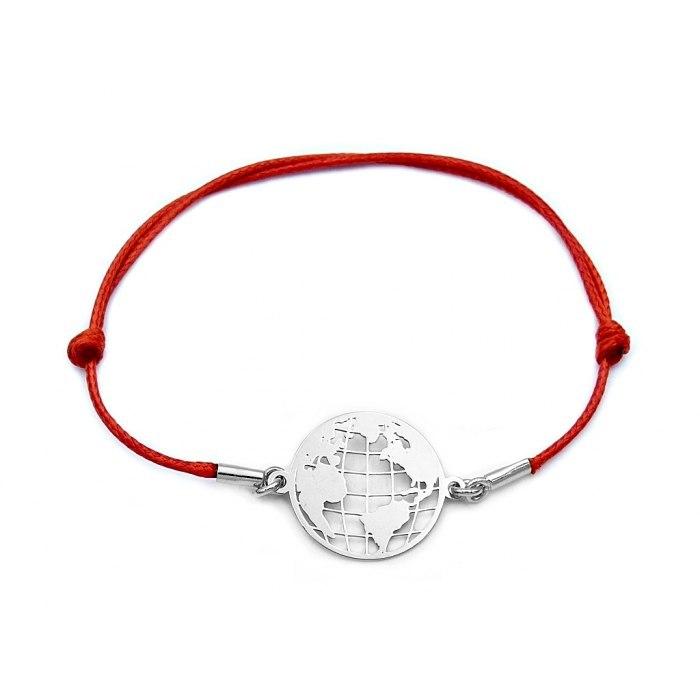 Czerwona srebrna sznurkowa bransoletka kula ziemska