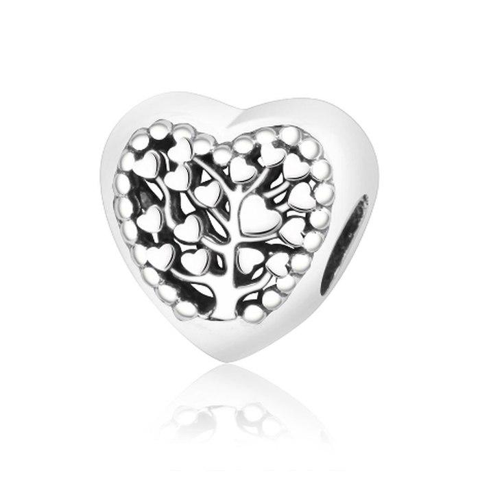 Srebrny koralik modułowy Beads drzewo serce