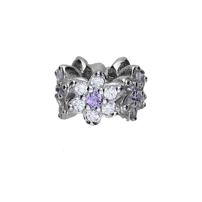 Srebrny koralik modułowy Beads kwiatuszki z cyrkoniami