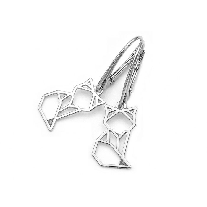 Srebrne kolczyki lis origami