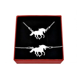 Srebrny komplet koń ogier + pudełko