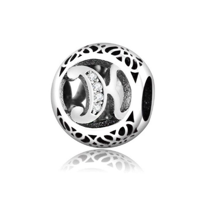 Srebrny koralik literka K charms modułowa Beads
