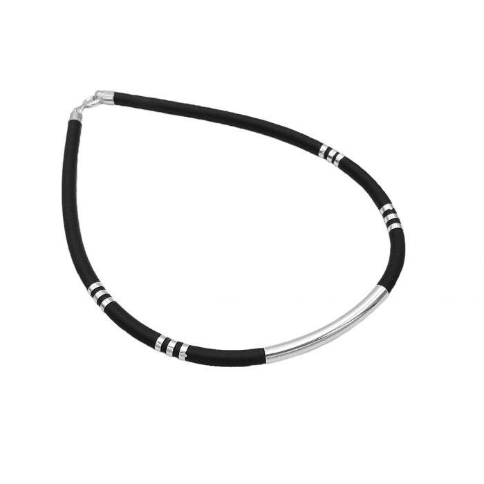 Silikonowa bransoleta ze srebrem 925