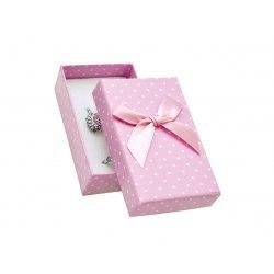 Pudełko 5x8x3 cm - różowe w kropki, duża kokarda