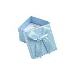 Pudełko 5x5x3,5 cm - niebieskie w kropki, duża kokarda