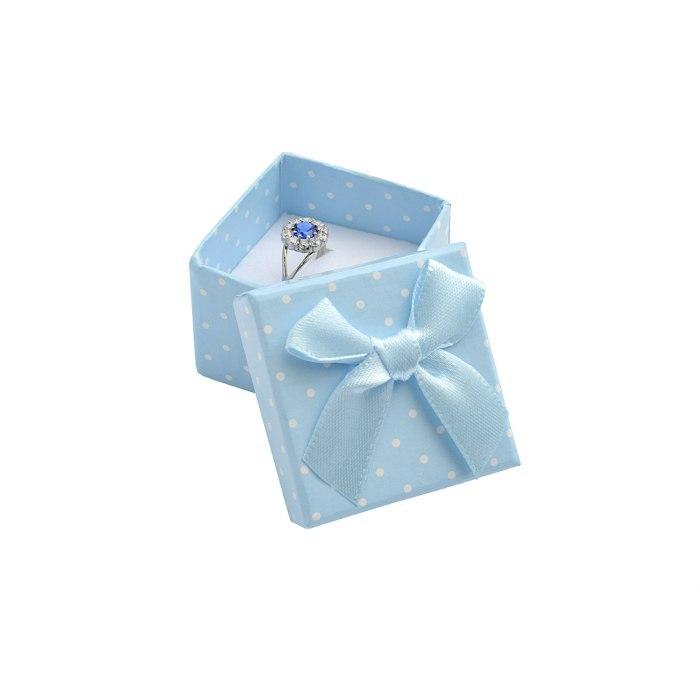 Pudełko 4x4x3 cm - niebieskie w kropki, duża kokarda