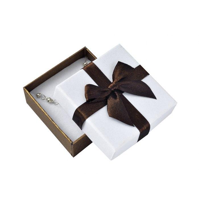 Pudełko 6x6x2,5 cm perłowe brąz kokarda