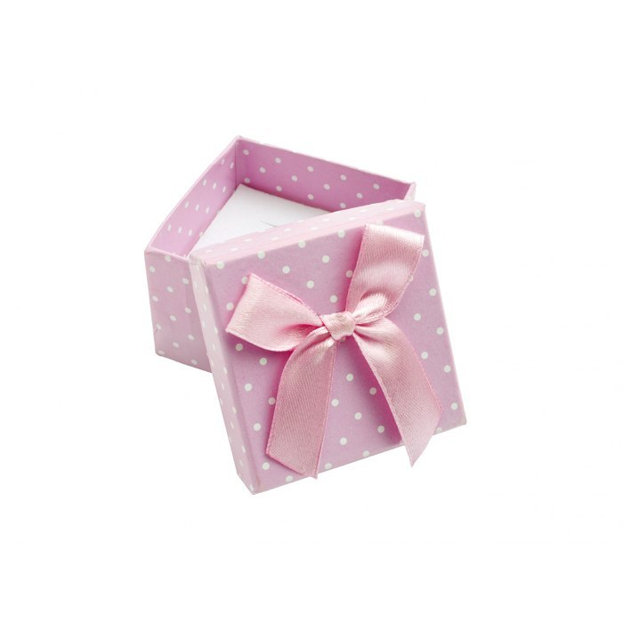 Pudełko 5x5x3,5 cm - różowe w kropki, duża kokarda