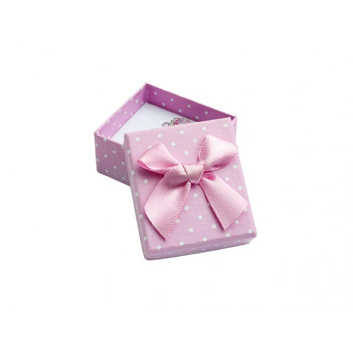 Pudełko 4x4x3 cm - różowe w kropki, duża kokarda