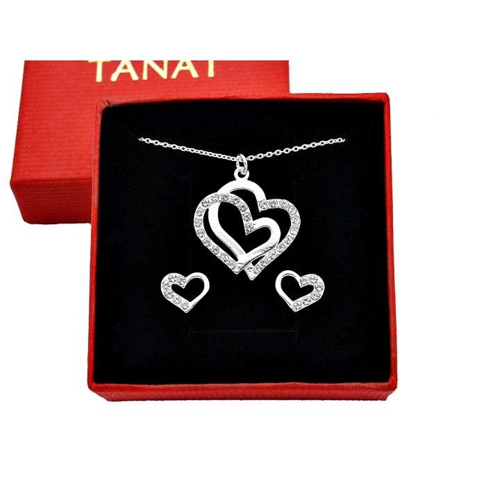 Srebrny komplet serca z cyrkoniami + pudełko