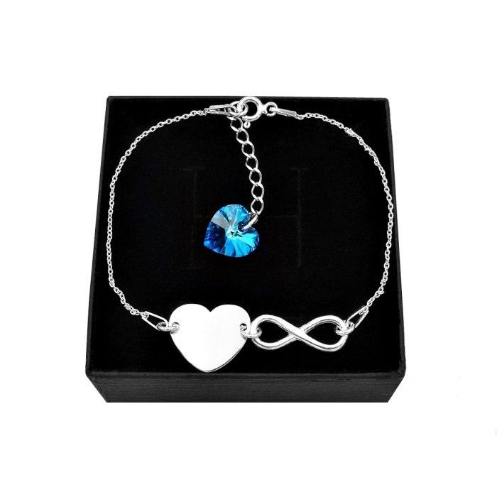 Srebrna bransoletka serce nieskończoność + grawer