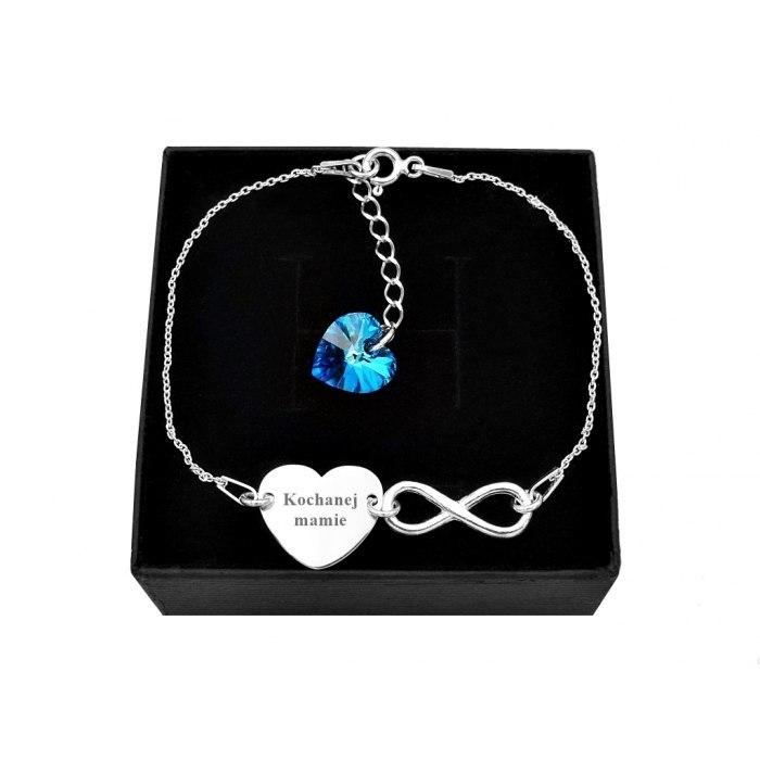 Srebrna bransoletka serce nieskończoność + pudełko