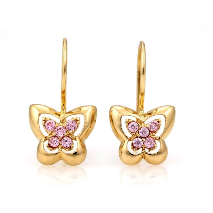 Złote kolczyki 333 jesno różowe motylki
