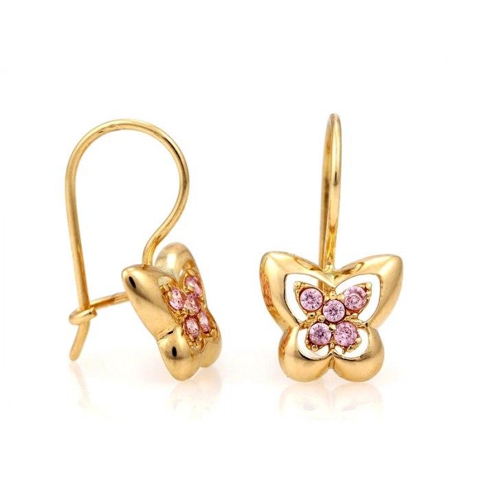 Złote kolczyki 333 jasno różowe motylki
